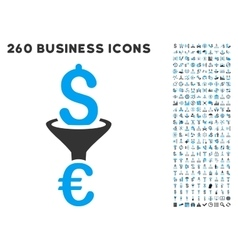 Dollar euro conversion filter icon with flat vector