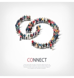 Connect people sign 3d vector