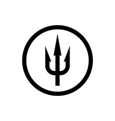 Simple trident sign black symbol in a circle vector
