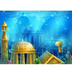 Atlantis Seamless submerged underwater city the vector image