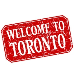 Welcome to toronto red square grunge stamp vector