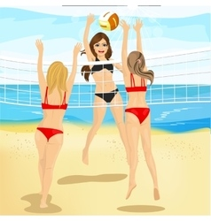 Beautiful women play volleyball at beach vector
