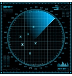 Blue radar screen HUD interface vector image vector image