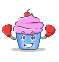 Boxing cupcake character cartoon style vector