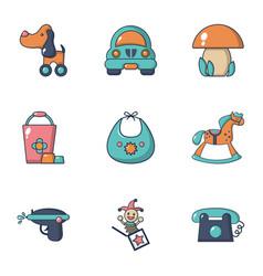 Boy toys icons set flat style vector