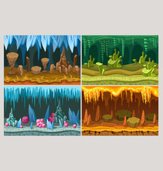 cartoon game cave landscapes set vector image vector image