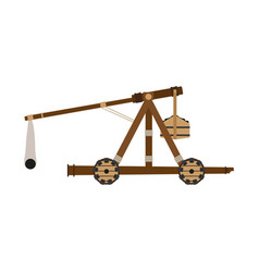 Catapult weapon icon isolated wooden slingshot vector