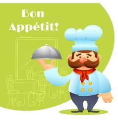 Chef With Tray Poster vector image