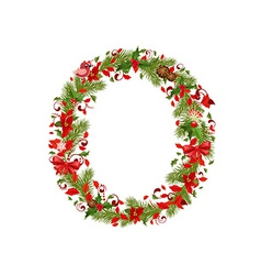 christmas floral tree letter O vector image