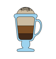 Color graphic glass cup of cappuccino with foam vector