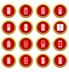Door icon red circle set vector