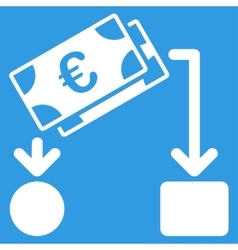 Euro cash flow icon vector