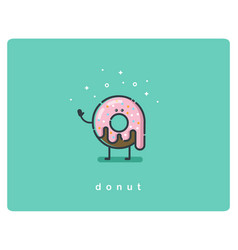 flat chocolate donut cartoon character vector image vector image