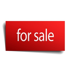for sale red paper sign on white background vector image vector image