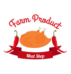 fried chicken label logo hen bell paper - farm vector image