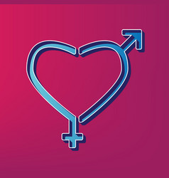 Gender signs in heart shape blue 3d vector
