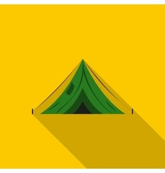 Green canvas tent icon flat style vector
