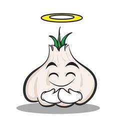 Innocent face garlic cartoon character vector