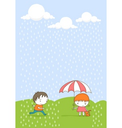 kids in the rain cartoon vector image vector image