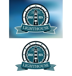 Lighthouse logo or emblem in retro blue vector image