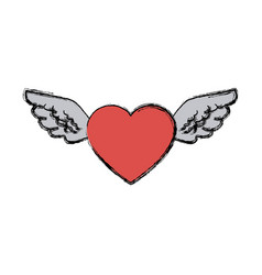 Love heart wings fly tattoo free symbol vector