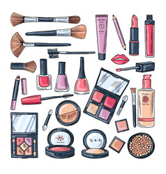 Makeup products for women colored hand drawn vector
