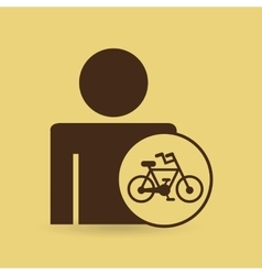 Man silhouette bycicle icon design vector