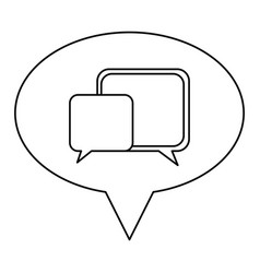 Monochrome contour of oval speech with dialogue vector