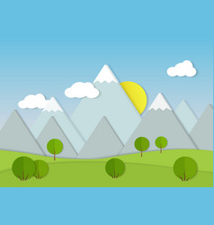 mountains cardboard paper landscape green trees vector image vector image