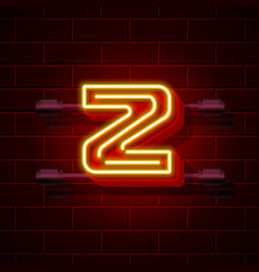 Neon city font letter z signboard vector