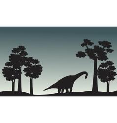 Scenery of brachiosaurus and tree silhouette vector image vector image
