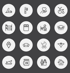 set of 16 editable family outline icons includes vector image
