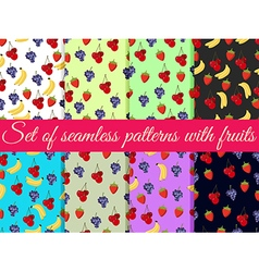 Set of seamless pattern with fruit vector