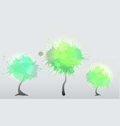 set of trees with green watercolor sprays element vector image vector image