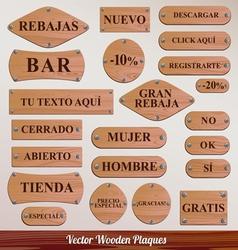 Set Wooden plaque spanish vector image