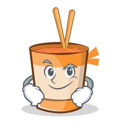Smirking cup noodles character cartoon vector