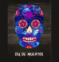 sugar skull mexican skull on wooden vector image vector image