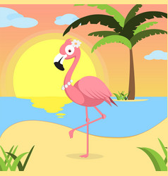 summer background with pink flamingo of beach at vector image vector image