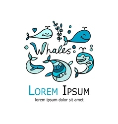Whale logo sketch for your design vector image vector image
