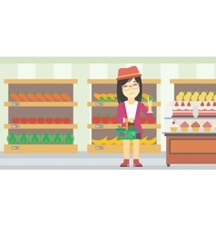 Woman refusing junk food vector