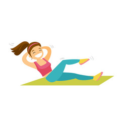 Young caucasian white woman doing crunches vector