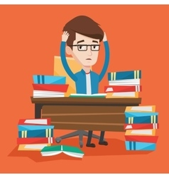 Student sitting at the table with piles of books vector