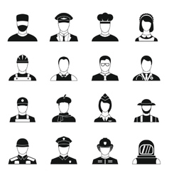 Professions icons set simple style vector