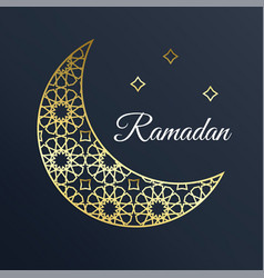 Golden arabic ornamental moon with stars ramadan vector