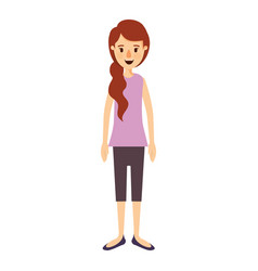 Colorful image caricature full body woman with vector