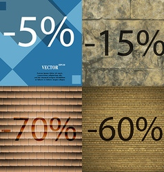 15 70 60 icon set of percent discount on abstract vector