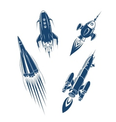 Space ships and spacecrafts set vector