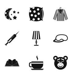 Sleep symbols icon set simple style vector