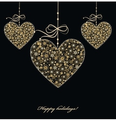 Decoration with golden hearts vector