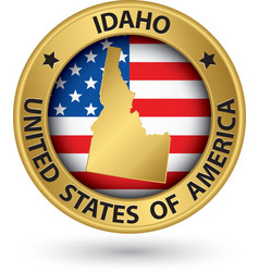 Idaho state gold label with state map vector